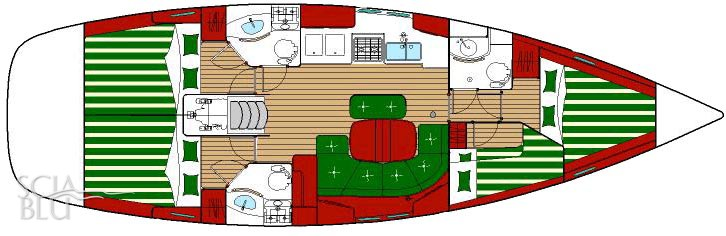 Oceanis 423 clipper: layout 4 cabine