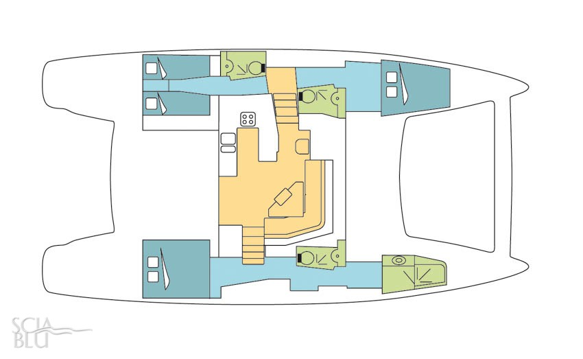 Catana 50 oc, layout (vers. 3 cabine)