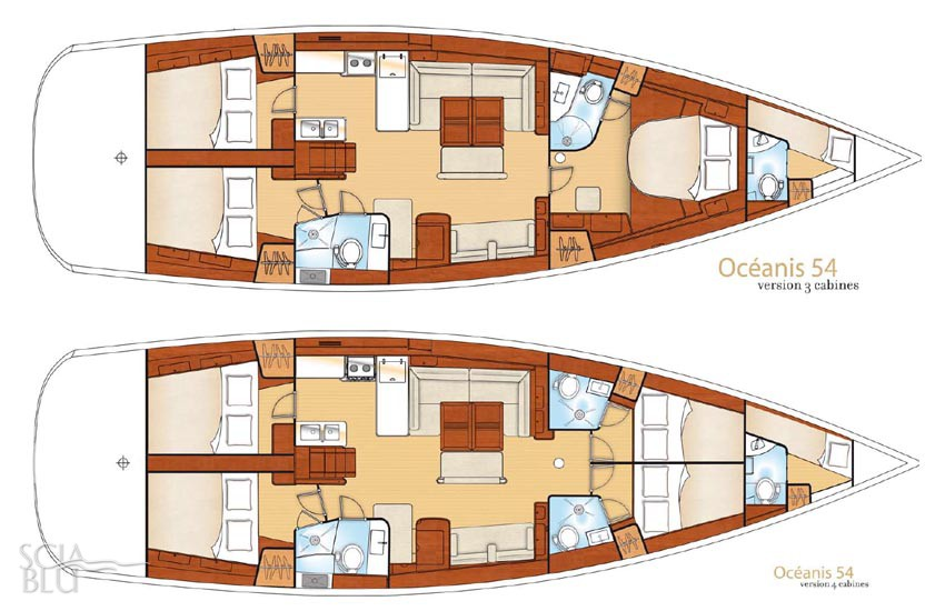 Oceanis 54: layout a 3 e 4 cabine