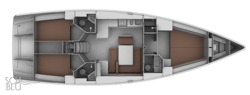 Bavaria 45 cruiser: layout versione armatoriale