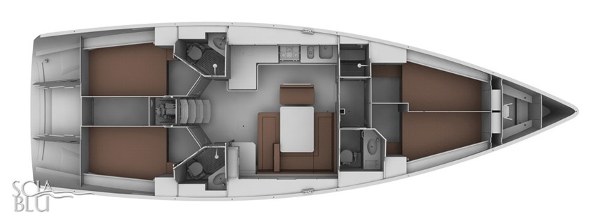Bavaria 45 cruiser: layout versione charter