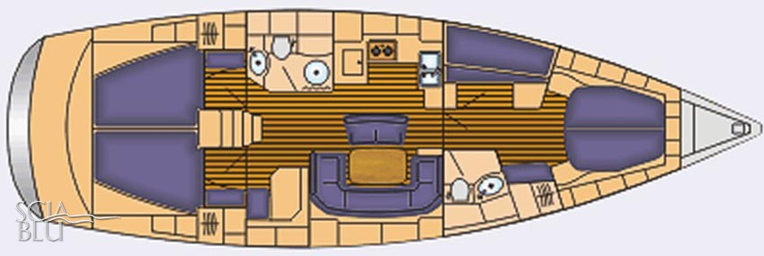 Bavaria 46 Cruiser: layout 4 cabine