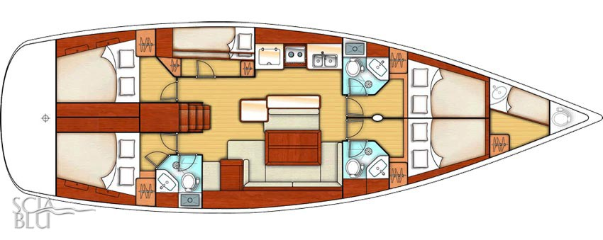 Oceanis 50 family: layout 5 + 1 cabina