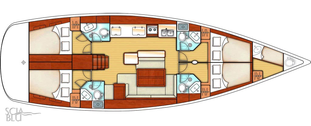 Oceanis 50 family: layout 4 + 1 cabina