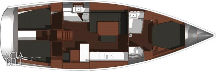 Dufour 445 Grand Large: layout 3 cabine