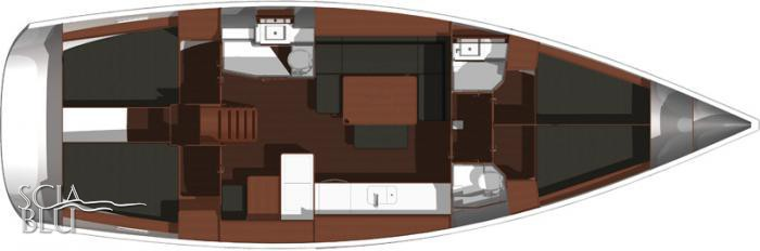 Dufour 445 Grand Large: layout 4 cabine